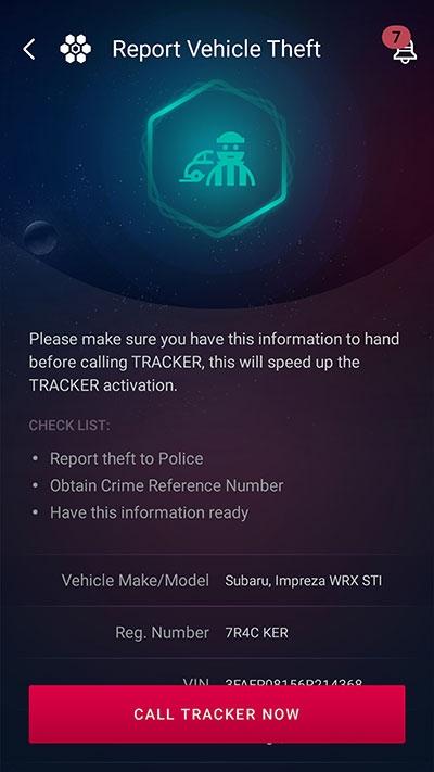 Tracker report vehicle stolen